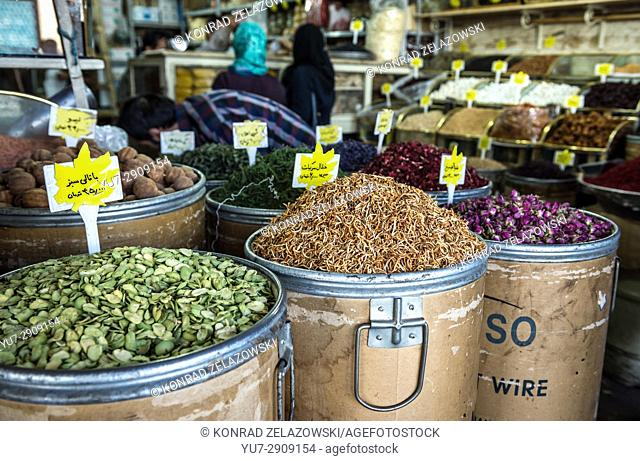 Dried peels and petals for sale on the Grand Bazaar in Tehran city, capital of Iran and Tehran Province