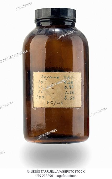 Laboratory bottle with message written on paper