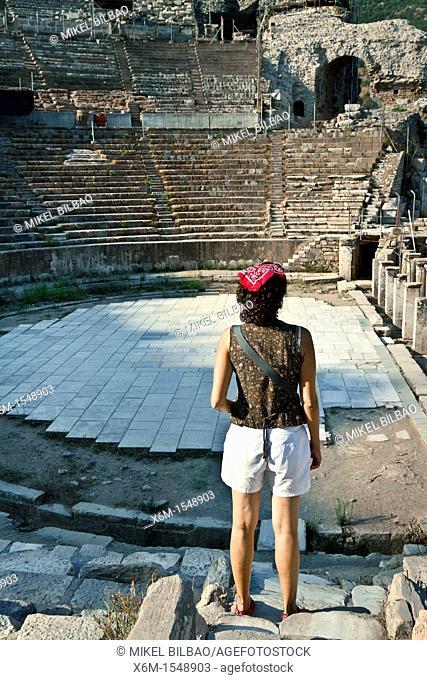 Tourists in the Theater  Ruins of Ephesus  Izmir province  Anatolia, Turkey