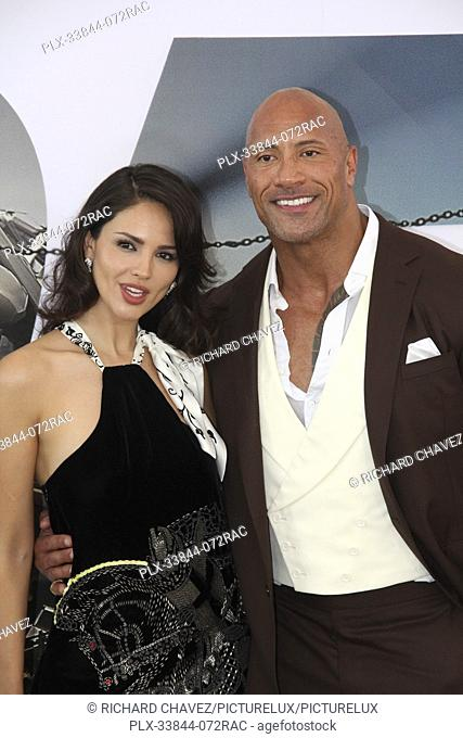 "Eiza Gonzalez and Dwayne Johnson at the Universal Pictures World Premiere of """"Fast & Furious Presents: Hobbs & Shaw"""". Held at the Dolby Theater in Hollywood"