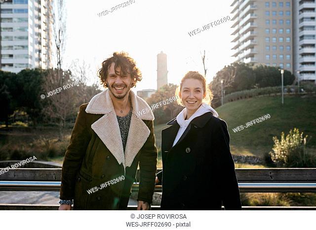 Portrait of happy couple in the city