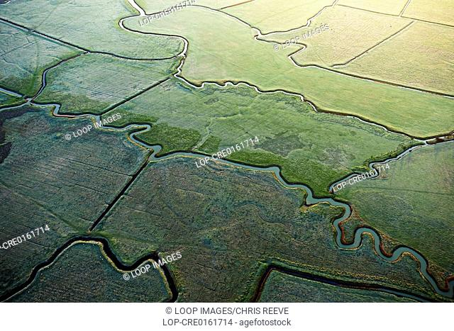 Aerial shot of the Kent Marshes along the Thames Estuary