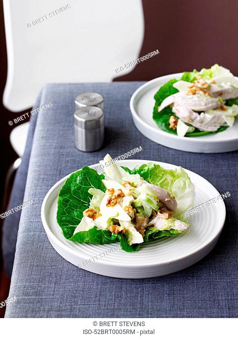 Plate of salad with chicken