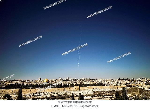 Israel, Jerusalem, holy city, listed as World Heritage by UNESCO, East of Jerusalem, Palestinian sector, view from Mount of Olives