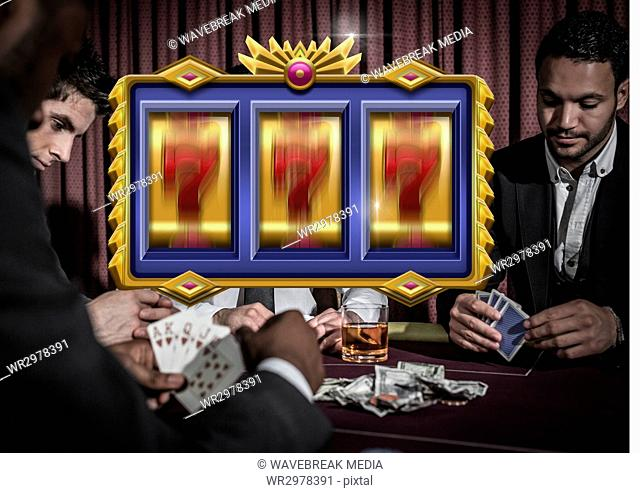 Casino slot machine in front of people playing cards gambling 3d