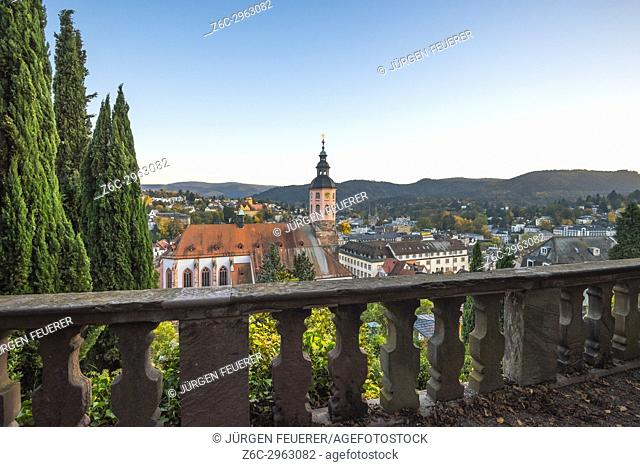panorama view over the town at the New Castle, spa town Baden-Baden at sunset, Germany
