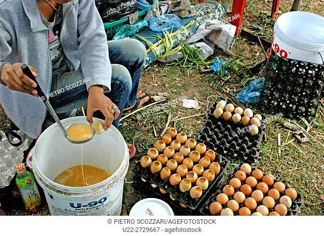 Vientiane, Laos: eggshells refilled with yolks