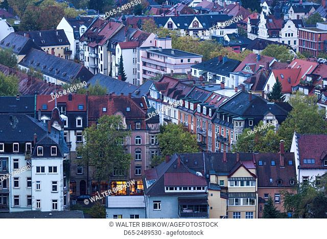 Germany, Baden-Wurttemburg, Black Forest, Freiburg-im-Breisgau, elevated city view from Schlossberg mountain, dawn