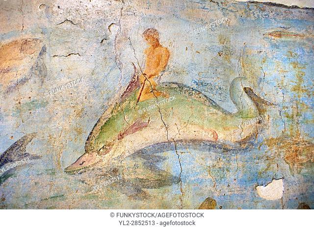 Roman Fresco with a boat decorated for a festival and marine life from the second quarter of the first century AD. (mosaico fauna marina da porto fluviale di...