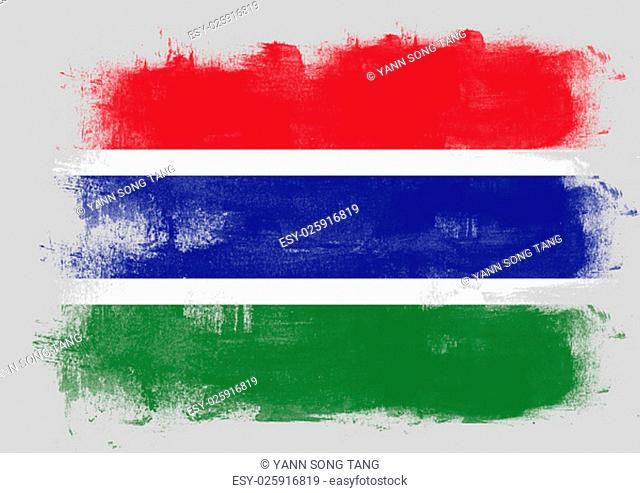 Flag of Gambia painted with brush on solid background
