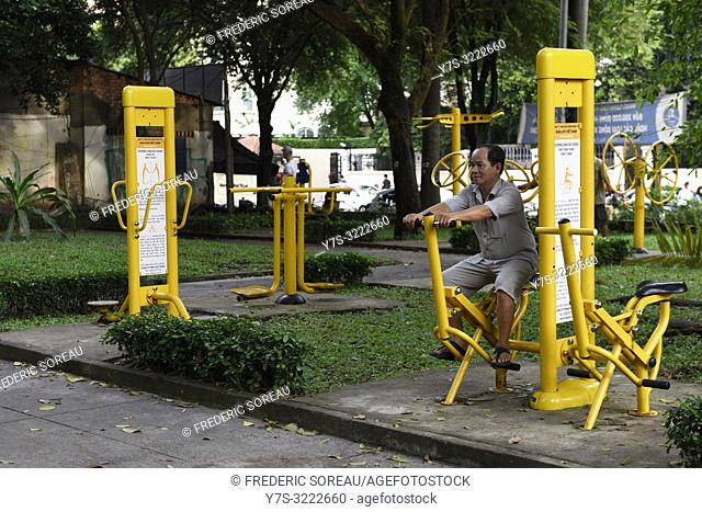 People exercising in Tao Dan park,Ho Chi Minh City,Vietnam,South East Asia