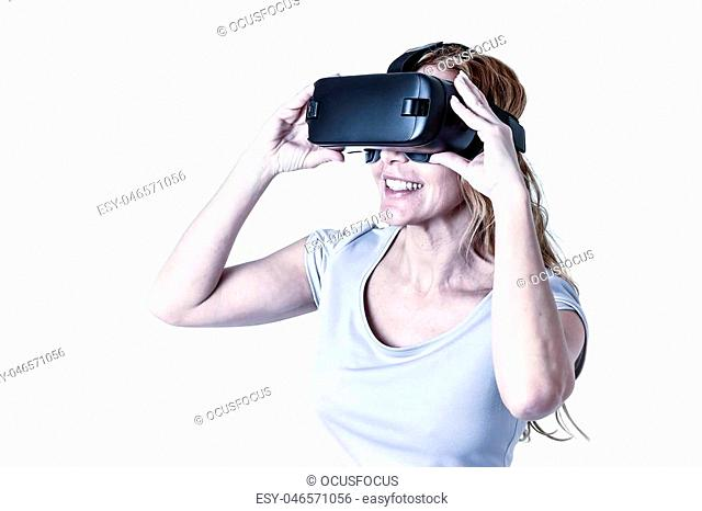 attractive happy and excited woman using 3d goggles watching 360 virtual reality vision enjoying cyber fun experience in vr simulation reality and new video...