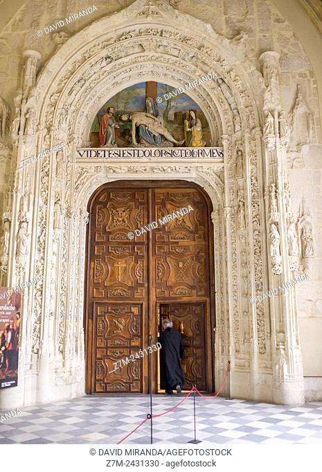 Entrance door to the church, Monastery of Santa María del Paular, Rascafría, Sierra Norte, Parque Nacional de la Sierra de Guadarrama. Madrid, Spain