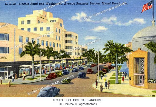 Lincoln Road and Washington Avenue, Miami Beach, Florida, USA, 1941. Vintage linen postcard showing a view at the intersection of Lincoln Road and Washington...