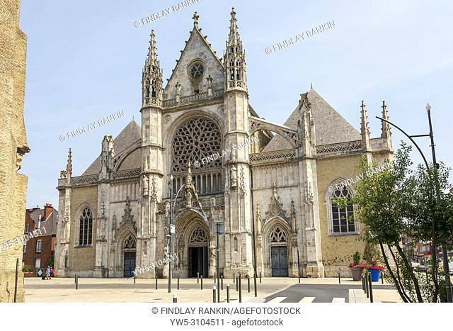 Saint Eloi Church, Dunkirk, Dunkerque, Hants-de-France, France, with bullet holes and damage from world war 2