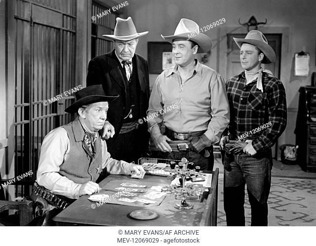 'Fuzzy Knight, Monte Blue, George O'Brien & Hugh Hooker Characters: Sheriff, John Sawyer, George O'Brien, Sandy Evans Film: The Stooges Go West; Gold Raiders...
