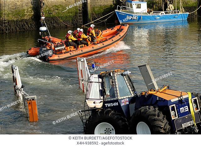 Inshore lifeboat leaving for practice, Aberystwyth, Wales