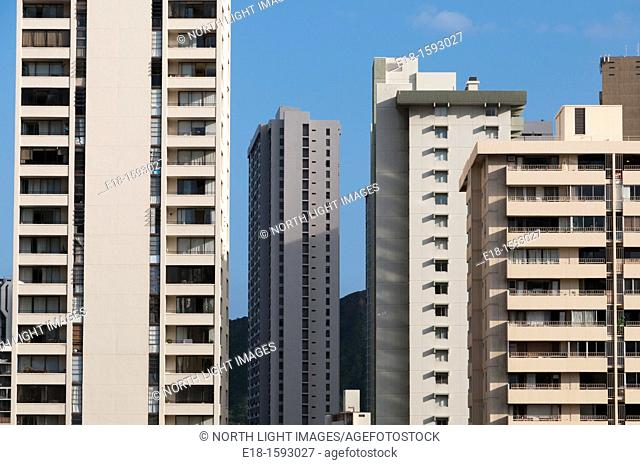 USA, Hawaii, Oahu. Density of hotels and apartments in Waikiki