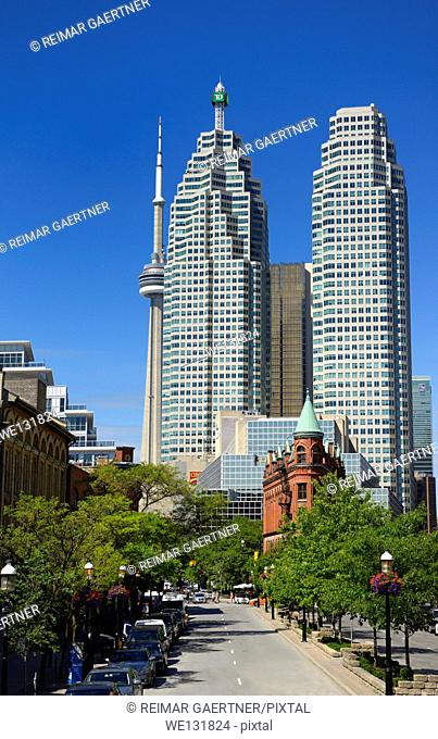 Gooderham Flatiron building with financial district bank towers and CN tower Toronto