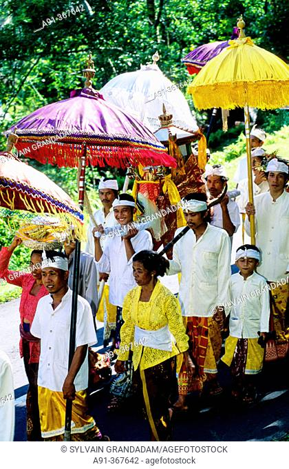 Procession for Odalan festival from Manenga. Bali island. Indonesia