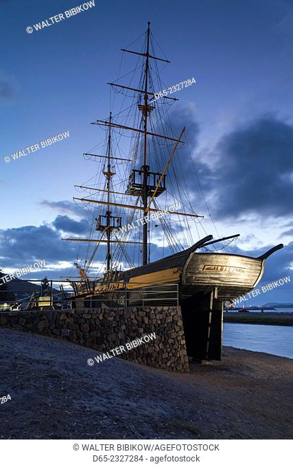 Australia, Western Australia, The Southwest, Albany, replica of the Brig Amity ship, dawn