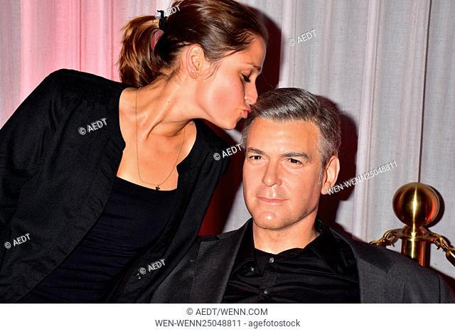 Celebrities at Madame Tussauds Berlin. Featuring: Sarah Alles, George Clooney wax figure (Wachsfigur) Where: Berlin, Germany When: 14 Jul 2016 Credit: AEDT/WENN