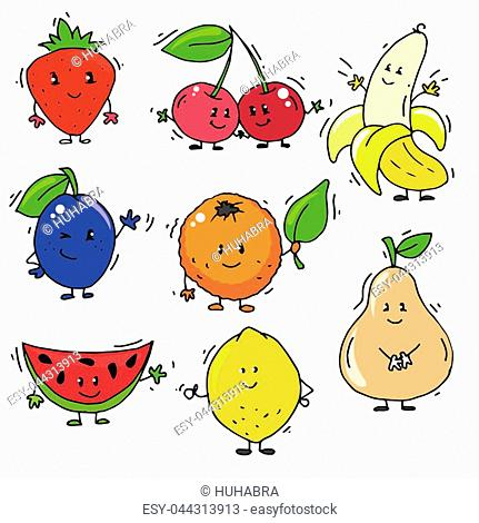 A set of colorful berries and fruits with faces, hands and feet for design. The image of a plum, orange, lemon, slices of watermelon, cherry