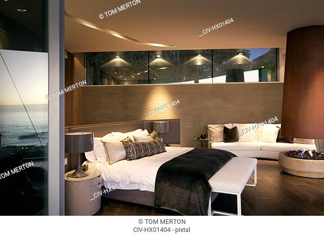 Illuminated luxury home showcase interior bedroom