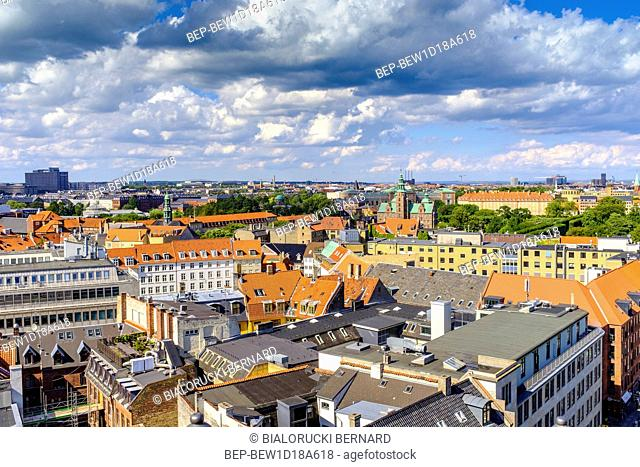 Dania - region Zealand - Kopenhaga - panorama centrum miasta z lotu ptaka Denmark - Zealand region - Copenhagen city center - panoramic aerial view of the...