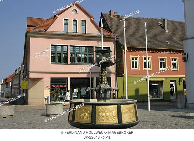 BRD Germany Mecklenburg Vorpommern Wolgast market place with historical fountain