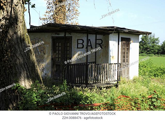 An ancient and abandoned bar near Certosa di Pavia, Pavia, Lombardy, Italy