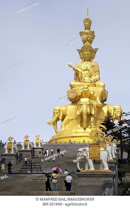 Statue of Samantabhadra, Mount Emei near Chengdu, China, Asia
