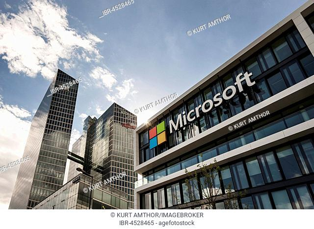 Microsoft Germany, corporate head office, at back Highlight Towers with IBM and Fujitsu headquarters, Schwabing, Munich, Bavaria, Germany