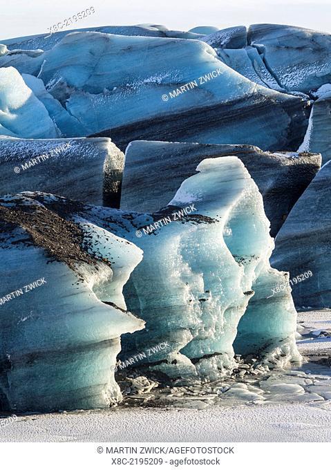 Svinafellsjoekull glacier in Vatnajoekull NP during Winter. europe, northern europe, scandinavia, iceland, February