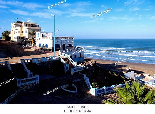 Morocco, Sidi Ifni, houses near the beach