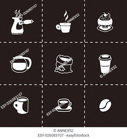 Vector Coffe icon set on black background
