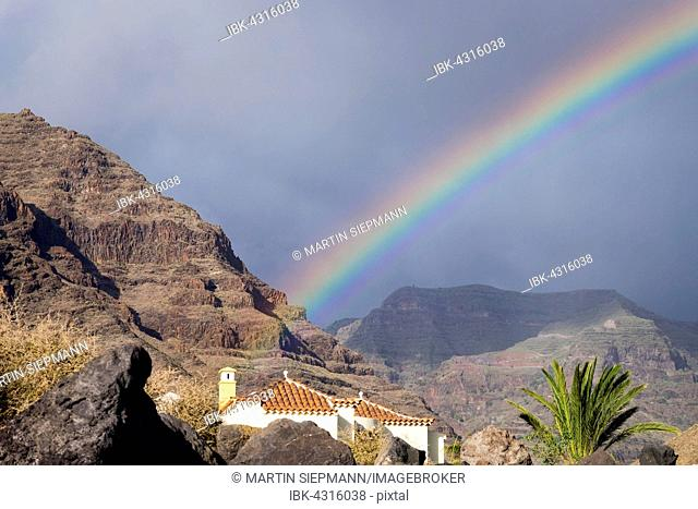 Rainbow, La Puntilla, Valle Gran Rey, La Gomera, Canary Islands, Spain