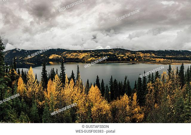 Canada, British Columbia, Kitimat-Stikine A, view from Highway 37, lake in autumn