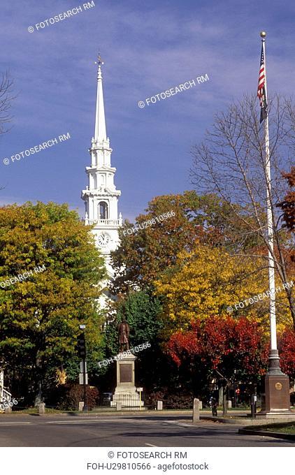 Keene, New Hampshire, NH, Church in downtown Keene in the autumn