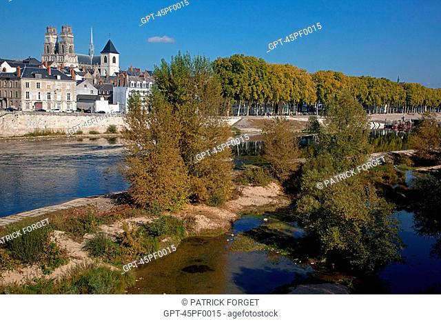 BANKS OF THE LOIRE AND THE SAINTE-CROIX CATHEDRAL, ORLEANS, LOIRET 45, FRANCE