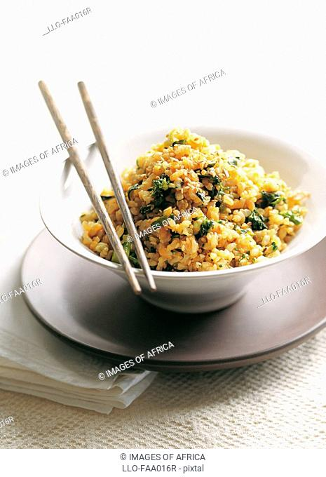 Sesame,Ginger and Vegetable Stir-fried Brown Rice  Studio Shot