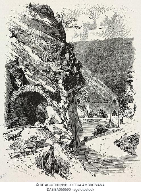 Penne bridge tunnel (Moutier), Bernese Jura railway, Switzerland, illustration from L'Illustration, Journal Universel, No 1805, Volume LXX, September 29, 1877