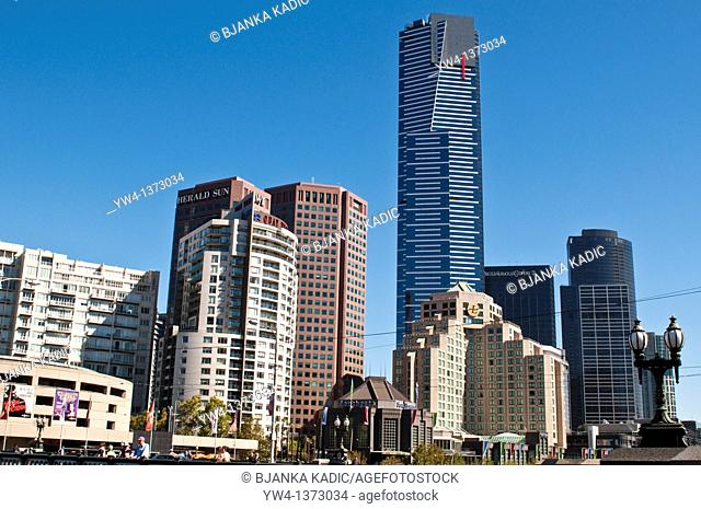 Melbourne Southbank on Riverside Quay with Eureka Tower, the world's tallest residential tower, Australia