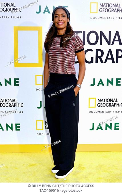 """Actress Gina Torres arrives at the Los Angeles Premiere of National Geographic Documentary Films' """"""""Jane"""""""" at the Hollywood Bowl in Hollywood"""