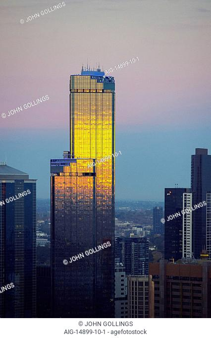 Eureka Tower Melbourne and Rialto Tower sunset, Australia