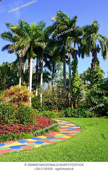 Sunken Gardens Botanical colorful path palm trees St. Petersburg FL US