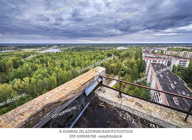 On the roof of 16-stored block of flats in Pripyat ghost city of Chernobyl Nuclear Power Plant Zone of Alienation in Ukraine