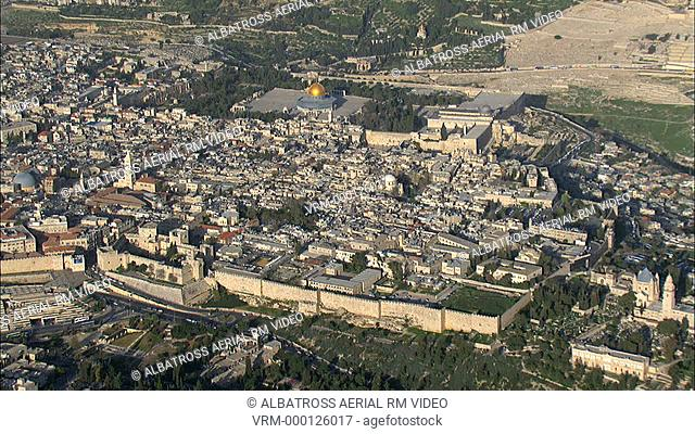 Aerial HD shot of The Temple Mount in Jerusalem. Al Aksa Mosque