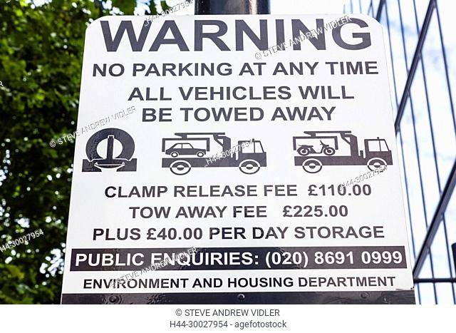 England, London, Illegal Parking Warning Sign