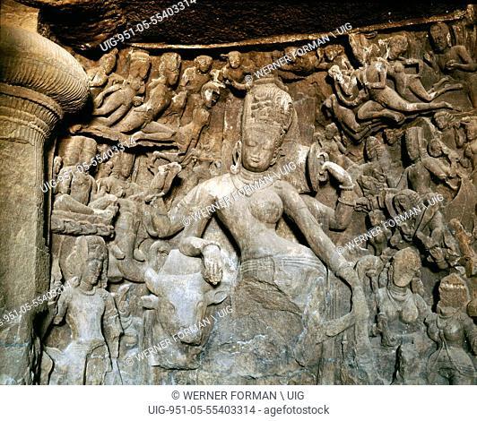 Temple sculpture at Elephanta of Ardhanari, an androgynous deity composed of Shiva and his consort Shakti